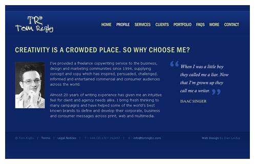 Freelance Copywriter Website : Web Design Portfolio : Dan Lindop
